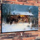 Oil Painting Western Cowboy Horse Winter Art Print on Canvas Home Decor Unframed