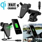 2 IN 1 QI Wireless Car Charger Mount Holder For Samsung S9 S8 Plus iPhone 8 X XS