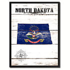 North Dakota State Flag Canvas Print with Picture Frame Home Decor Wall Art Gift