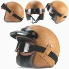 Bike Helmet PU Leather Open Face Vintage Motorcycle Head Safety with Goggle Mask