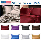 US Silk Pillow Case Cushion Cover Pillowcase Standard Queen Size Solid Color WDS image