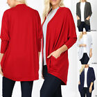 Women's Open Front 3/4 Sleeve Cardigan Cocoon Drape Spring Sweater Long Pockets