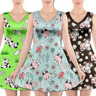 Women V-Neck Sleeveless Swing Fun Graphic Dress Cute Cartoon Cow Cattle Printed