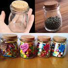 2/5/10Pcs 100ML Small Clear Glass Jars Bottle Wish Vial Container Cork Stopper