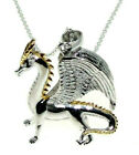 Solid 925 Silver 3d Dragon Pendant With 9ct Yellow Gold Detailing Chain Optional
