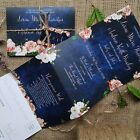 Personalised Wedding Invitations Evening Invites -Peach Navy - Handmade
