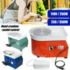 250W 350W 110V Electric Pottery Wheel Ceramic Machine Foot Pedal + Hand Control image