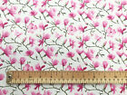100% Cotton Fabric - Pink Cherry Blossom Cream Background - Craft Material Metre