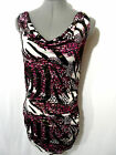 Nwt BACCI Bodycon Dress womens SML Blue Pink Purple Animal Print Chain strap Top