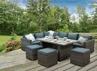 Casagiardino Brown Rattan Corner Sofa Outdoor Garden Furniture Dining Table Set