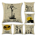 Nightmare Before Christmas Halloween Cotton Linen Pillow Case Cushion Cover BH image
