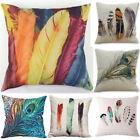 Cotton Linen Pillow Case 18'' New Feather style Throw Cushion Cover Home Decor image