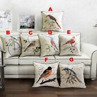 Embroidered Bird Cotton Linen Cushion Cover Throw Pillow Case Home Decor 18""