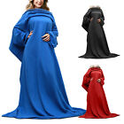 65 Inch Fleece Wearable Blanket With Sleeves And Pocket Micro Plush Warm Snuggie image