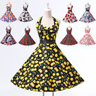 Women/Ladies Retro 50s Halter Neck Floral Evening Swing Party Casual Dress 2019