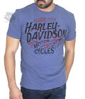 Harley-Davidson Mens Smokey Tank Flames Faded Blue Short Sleeve T-Shirt image
