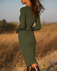 Womens Bodycon Sweater Dresses Long Sleeve Crew Neck Casual Winter Knit Midi