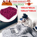 Winter Warm Chunky Knit Blanket Thick Yarn Hand Woven Bulky Knitted Throw 2Color image