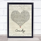 Candy Script Heart Song Lyric Quote Print