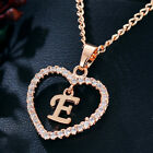 Fashion Crystal Love Heart Alphabet Initial Letter A-Z Pendant Necklace Jewelry