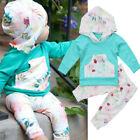 US Toddler Baby Girl Infant Floral Clothes Hooded Tops + Long Pants Outfits Set