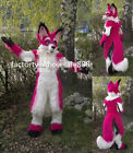 2019 Red Husky Dog Mascot Costume Suit Party Wolf Fox Long Fur Adult Fancy Dress