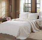 Mael Ivory Scalloped Edge Reversible Cotton Quilt Set, Bedspreads, Coverlet image