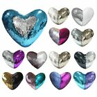 Heart Pillow Case Reversible Sequin Glitter Bed Cushion Throw Cover Home Décor image