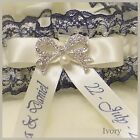 Luxury Personalised Bridal Garter. Navy Blue lace with White or Ivory satin trim