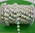 Costume Applique 6mm lot color jelly crystal rhinestone silver Trimming Chain