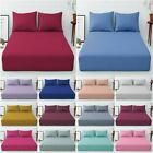 T168 Extra Deep 40 Cm Fitted Sheet Easy Care Polycotton Plain Dyed Uk Bed Size image