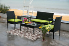 4 Pc Rattan Patio Furniture Set Garden Lawn Sofa Cushioned Seat Mix Wicker