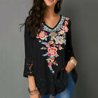 Women Casual V Neck Floral Lace Patchwork 3/4 Sleeve Shirt Blouse Top Clever