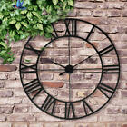 Large Outdoor Garden Wall Clock Antique Roman Numeral Round Open Face 16 / 23