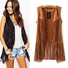 LADY Fringed Jacket Hippie Women Fashion Waistcoat Tassel Vest Sleeveless Collar