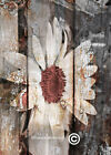 Coral Brown Rustic Sunflower Wall Art, Country Farmhous Home Decor Picture