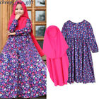 Toddler Baby Muslim Abaya Hijab Sets Girl Islamic Kids Cotton Floral Print Dress
