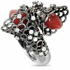 Io Si 18K White Gold and Black Rhodium Diamond and Coral Bypass Ring