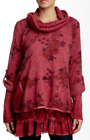 Lola (Italy) Lace Trim Layered Wool Blend Sweater Red M NWT $125