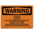 OSHA WARNING Sign - Stop Motor No Smoking Flammable Gas Natural  Made in the USA