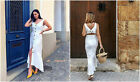 MANGO White Asymmetric Ruffled Linen Dress with Open Back REF. 33020975-TROPEZ