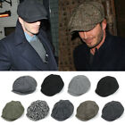 Men Herringbone Tweed Gatsby Newsboy Ivy Hat Golf Driving Cabbie Cap Outdoor