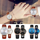 Fashion Couple Watch Leather Strap Date Analog Quartz Lovers' Wrist Watches Gift image