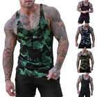Men Sleeveless Gym Sports Slim Fit Camouflage Muscle T-Shirt Cami Vest Tank Tops
