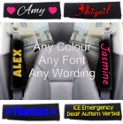 1 x PERSONALISED CUSTOM SEAT BELT SHOULDER PAD NAME GIFT PAIR BLACK COVER