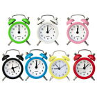 Portable Retro Alarm Clock Twin Bell Round Number Table Desk LED Clock US