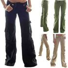 Women  s Lady Casual Military Army Loose Cargo Pocket Pants Trousers Plug Size