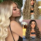 Women Fashion Human Hair Lace Front Wig Body Wavy Full Wigs Natural Ombre Blonde