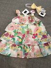 NWT Janie and Jack girl 2-piece pink yellow floral SUMMER dress SPRING set 0 3 6