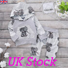 UK Newborn Baby Boy Clothes Elephant Stripe Hoodie T-shirt Tops+Pants Outfit Set